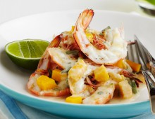 Grilled King Prawns with Mango, Young Coconut & Lime