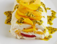 Mango and Strawberry Pavlova Roll