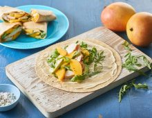 Smoked chicken and mango wraps