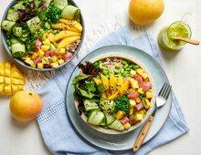 Mango poke bowl with zesty coriander dressing